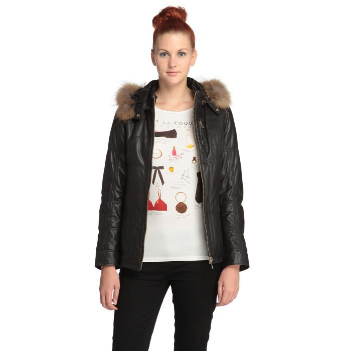 oakwood veste blouson capuche en cuir femme noir achat. Black Bedroom Furniture Sets. Home Design Ideas