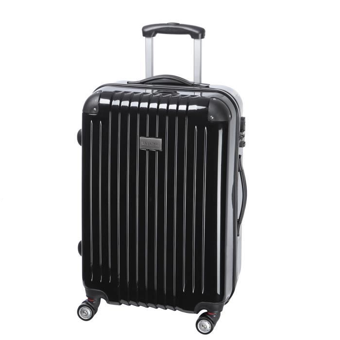 valise trolley 4 double roues en polycarbonate noir format interm diaire fermeture zipp e. Black Bedroom Furniture Sets. Home Design Ideas