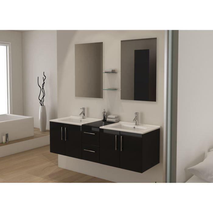 Tiana ensemble salle de bain double vasque 150 cm achat vente ensemble me - Meuble double vasque noir ...
