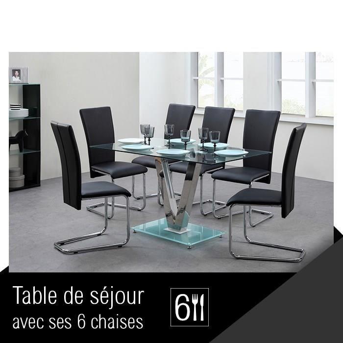 Agora ensemble repas coloris noir 7 pi ces 1 table for Table avec 6 chaises