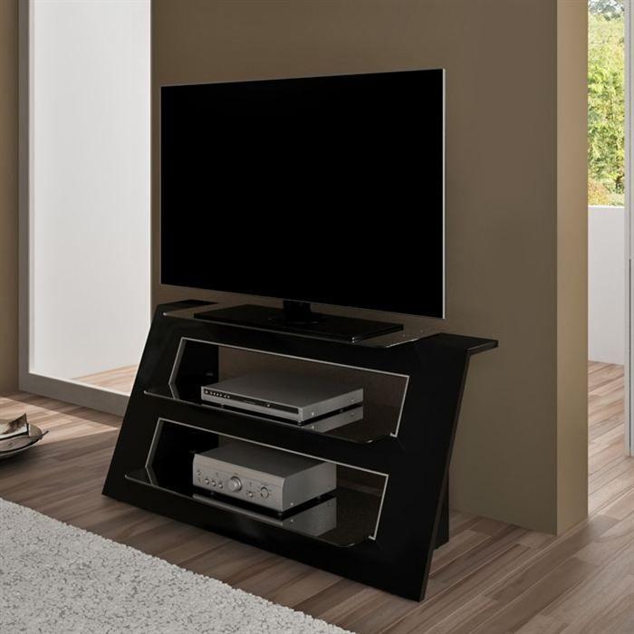 Alexa meuble tv laqu noir 110cm achat vente meuble tv - Meuble tv longueur 110 cm ...