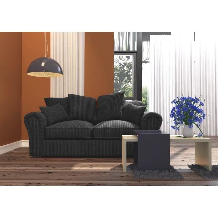 barcelona canap 2 places 182x84x96 cm tissu noir. Black Bedroom Furniture Sets. Home Design Ideas