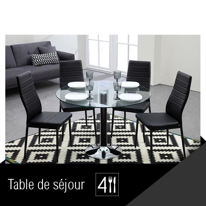 brooklyn table de s jour ronde pi tement noir achat vente table manger brooklyn table. Black Bedroom Furniture Sets. Home Design Ideas