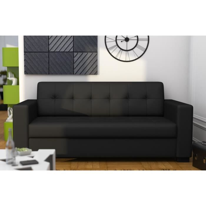 Clipp canap simili 3 places 185x81 cm noir achat vente canap sofa - Largeur canape 3 places ...