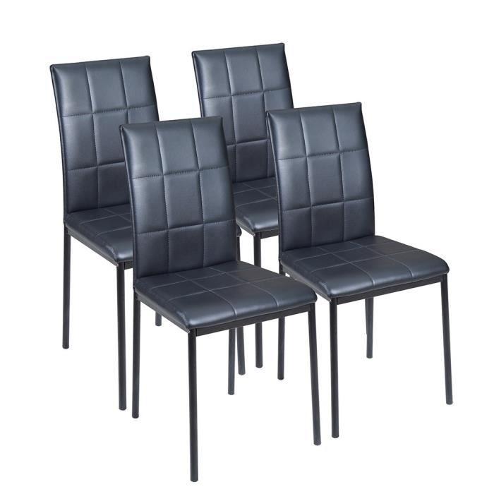 Chaise de salle manger noire fortuna lot de 2 chaise for Chaise noir salle a manger