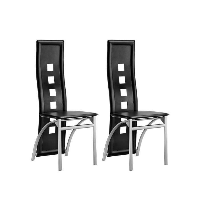 Eiffel lot de 2 chaises de salle manger noir et gris for Salle a manger noir et gris