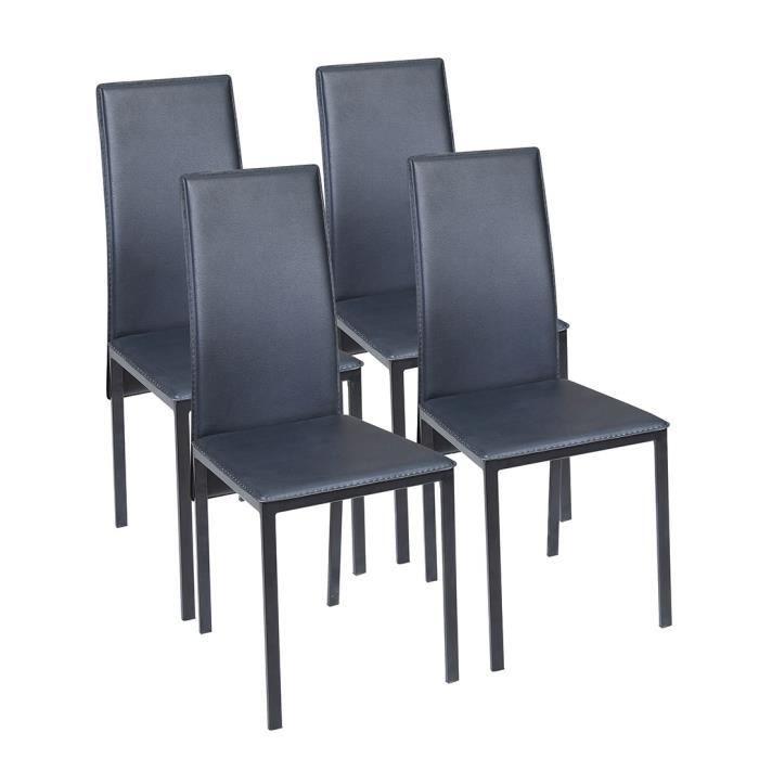 CHAISE ELISA Lot de 4 Chaises de salle à manger Noires