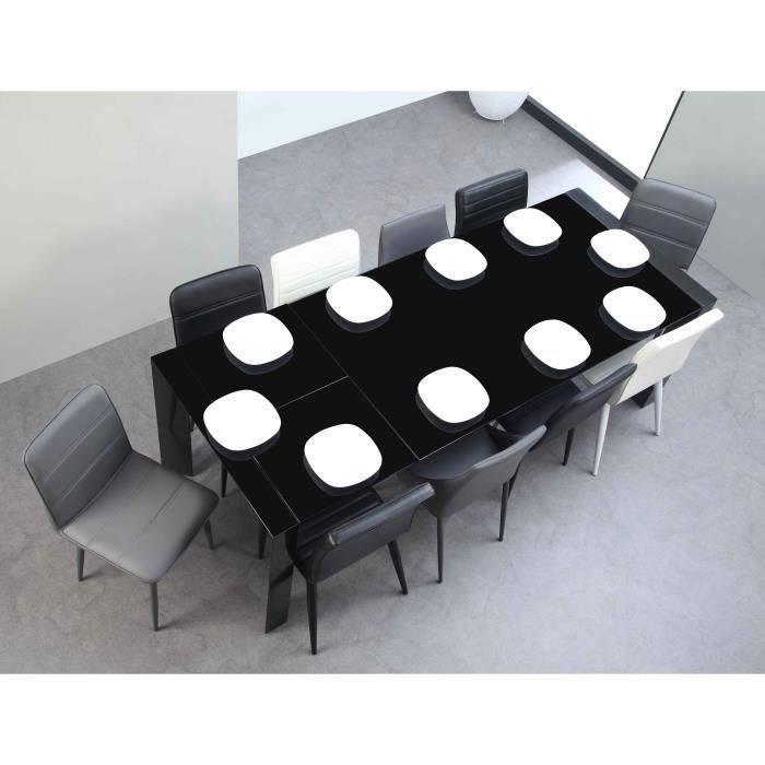 Milano table extensible 180 230cm verre noir achat - Table extensible noire ...