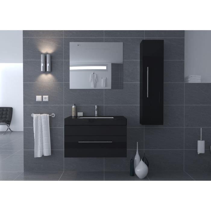 Thesee salle de bain compl te 80 cm noir brillant achat for Acheter salle de bain complete