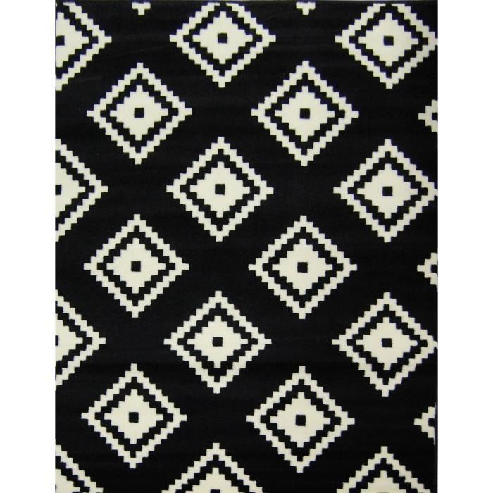 Tapis graph noir blanc 160 230 cm achat vente tapis 100 polypropyl ne - Tapis design noir et blanc ...
