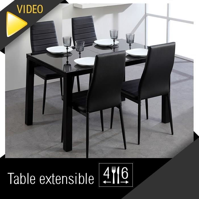 roma table extensible 120 180cm verre noir achat vente table manger roma table extensible. Black Bedroom Furniture Sets. Home Design Ideas