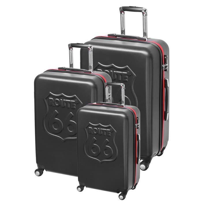 route 66 set de 3 valises abs 4 roues 50 60 70 cm noir noir achat vente set de valises. Black Bedroom Furniture Sets. Home Design Ideas