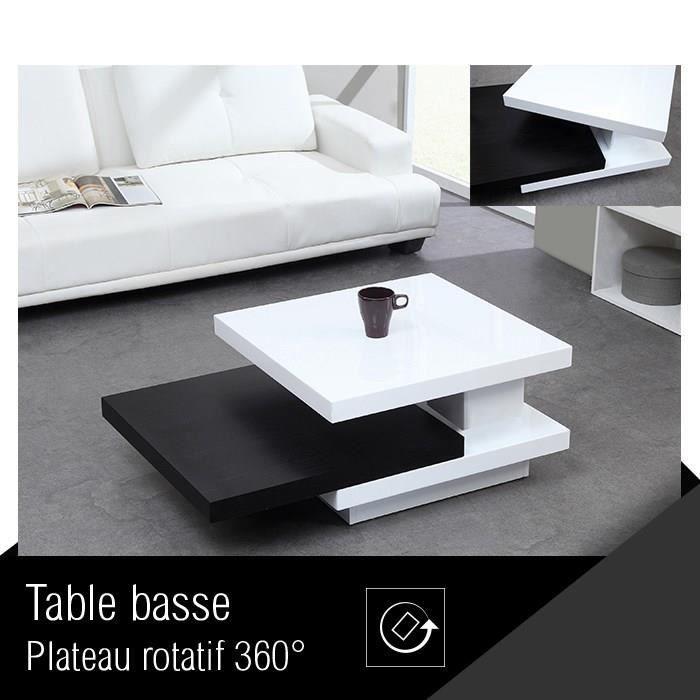 Trio table basse pivotante laqu e blanche noire achat - Table basse blanche et noir ...