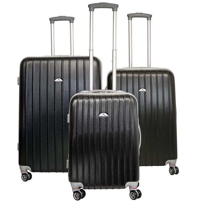 kinston set de 3 valises trolley 4 roues noir achat vente set de valises kinston set de 3. Black Bedroom Furniture Sets. Home Design Ideas