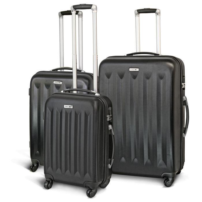 kinston set de 3 valises trolley 4 roues noir achat vente set de valises 3661611504478. Black Bedroom Furniture Sets. Home Design Ideas