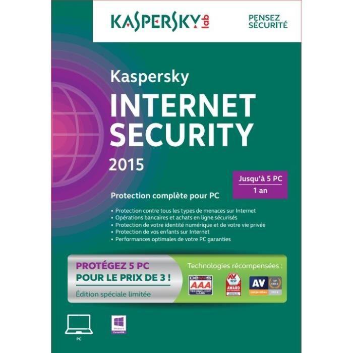 kaspersky internet security 2015 5 postes 1 an prix. Black Bedroom Furniture Sets. Home Design Ideas