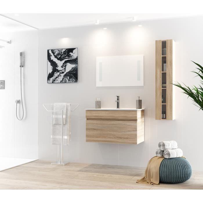 Alban salle de bain compl te simple vasque 80 cm d cor bois naturel achat vente salle de - Meuble sdb complet ...