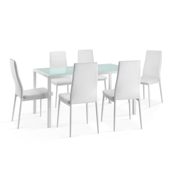 Ensemble repas ana 16 noir 1 table 6 chaises achat for Table 6 to 16