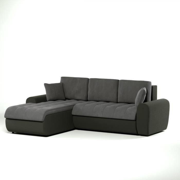 cloe canap d 39 angle convertible simili 4 places angle gauche 250x190 cm gris et noir. Black Bedroom Furniture Sets. Home Design Ideas