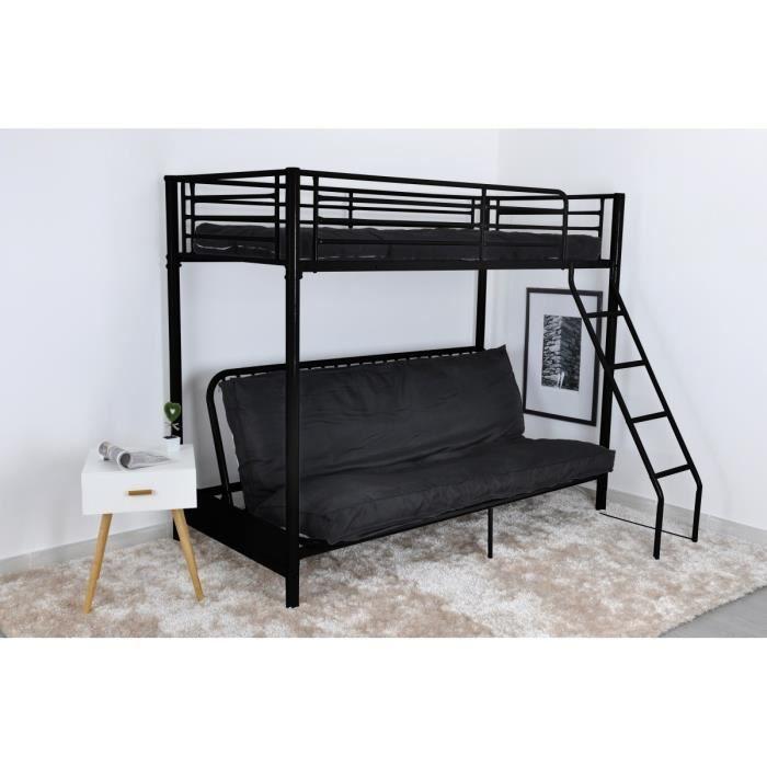 leijona lit mezzaclic clic clac 90x190cm noir achat. Black Bedroom Furniture Sets. Home Design Ideas