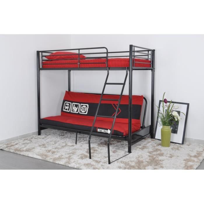 leijona lit mezzaclic clic clac 90x190 noir rouge achat. Black Bedroom Furniture Sets. Home Design Ideas