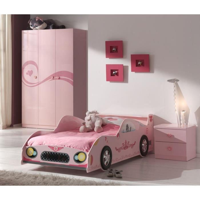 Fun ensemble lit chevet armoire 3p enfant rose achat for Ensemble lit et armoire
