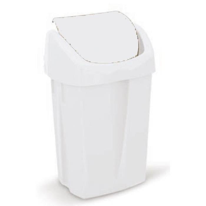 poubelle couvercle 50l clapet blanc achat vente poubelle corbeille poubelle couvercle 50l. Black Bedroom Furniture Sets. Home Design Ideas