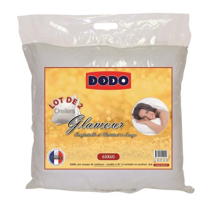 Dodo lot de 2 oreillers glamour 60x60 cm blancs achat for Dodo linge de maison
