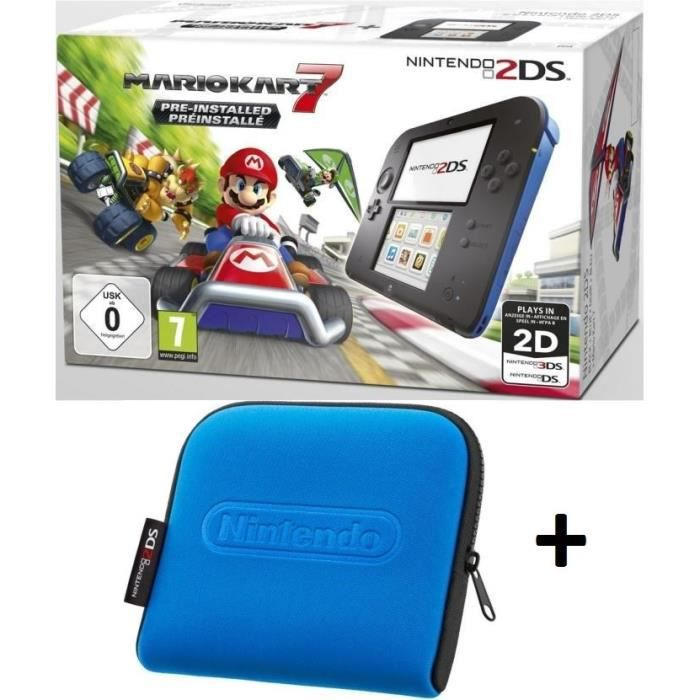 Pack 2ds bleue mario kart 7 housse bleue achat for Housse 2ds pokemon