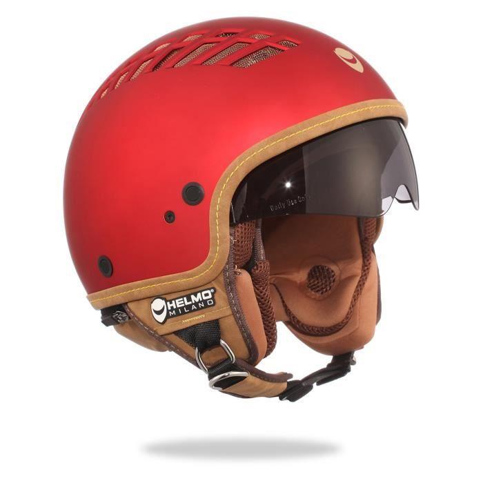 helmo viacolvento casque moto jet rouge mat achat vente casque moto scooter helmo. Black Bedroom Furniture Sets. Home Design Ideas