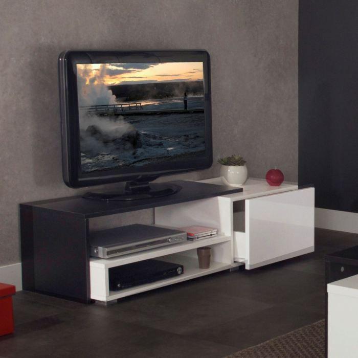 Logo banc tv 120cm noir et blanc achat vente meuble tv for Meuble tv suspendu 120 cm
