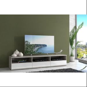 Meuble tv beige achat vente pas cher cdiscount for Nabou meuble tv mural 319x207 cm chene cendre