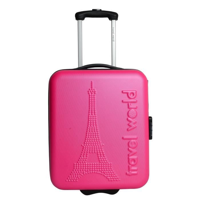 TRAVEL WORLD Valise trolley LOW COST PARIS Rose Achat / Vente valise