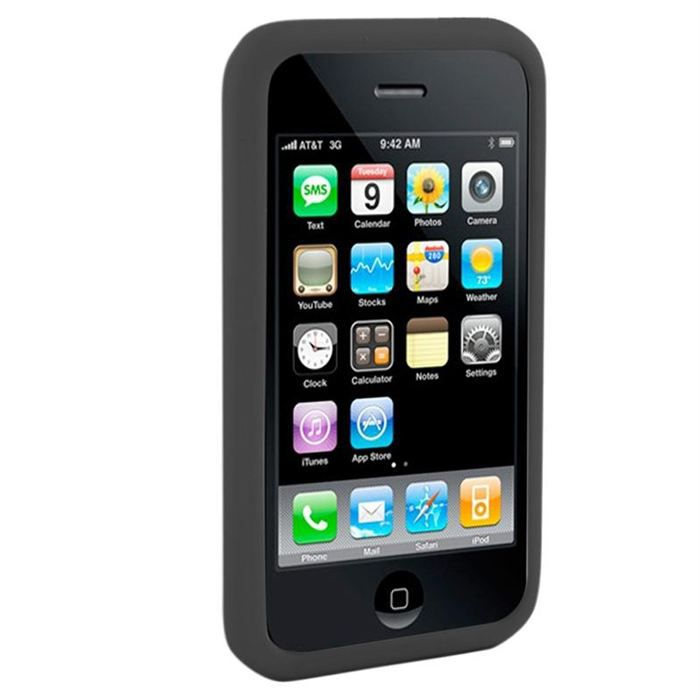 Housse silicone noire pour iphone 3g achat housse tui for Housse iphone 3g