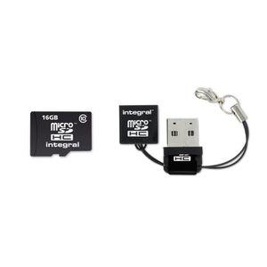 CARTE MÉMOIRE Integral Carte Mémoire Micro SD HC 16 Go + Lecteur