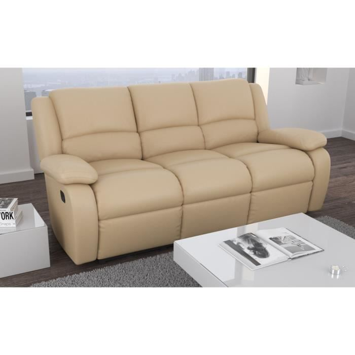 Relax canap relaxation simili 3 places 192x92x93 cm beige achat vente - Cdiscount canape relax ...