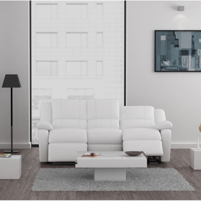 relax canap 3 places relaxation cuir et simili blanc achat vente canap sofa divan cuir. Black Bedroom Furniture Sets. Home Design Ideas