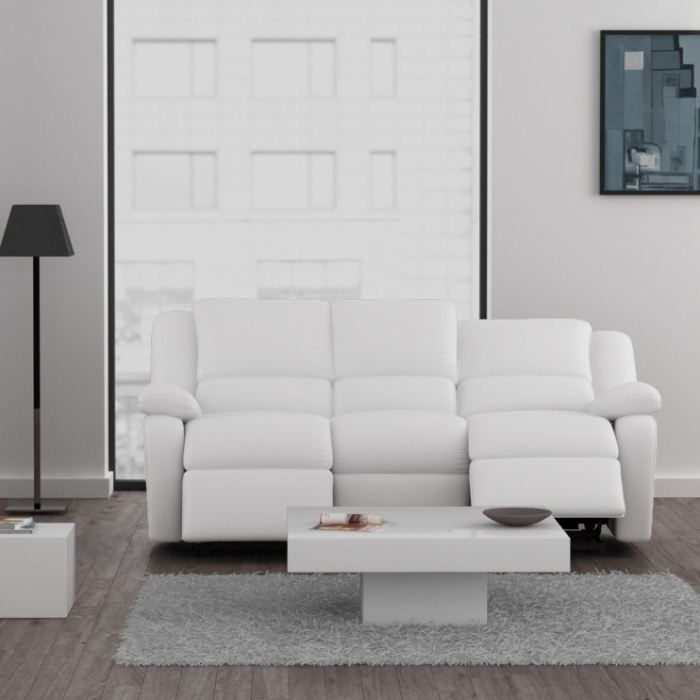 Relax canap relaxation simili 3 places 192x92x93 cm blanc achat vente - Canape cuir blanc relax ...