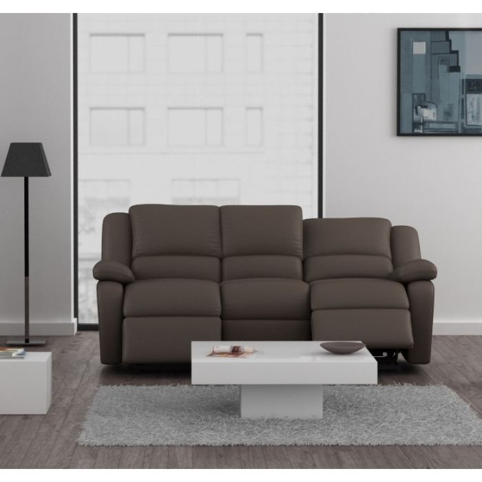 Relax canap relaxation simili 3 places 192x92x93 cm taupe fonc achat - Cdiscount canape relax ...
