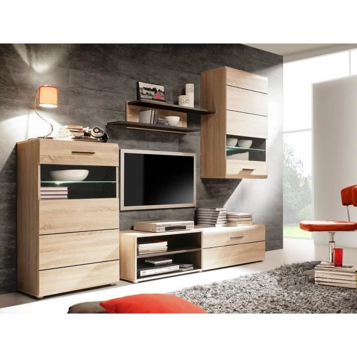combino meuble tv mural 244 cm ch ne weng achat vente salon complet combino meuble tv mural. Black Bedroom Furniture Sets. Home Design Ideas
