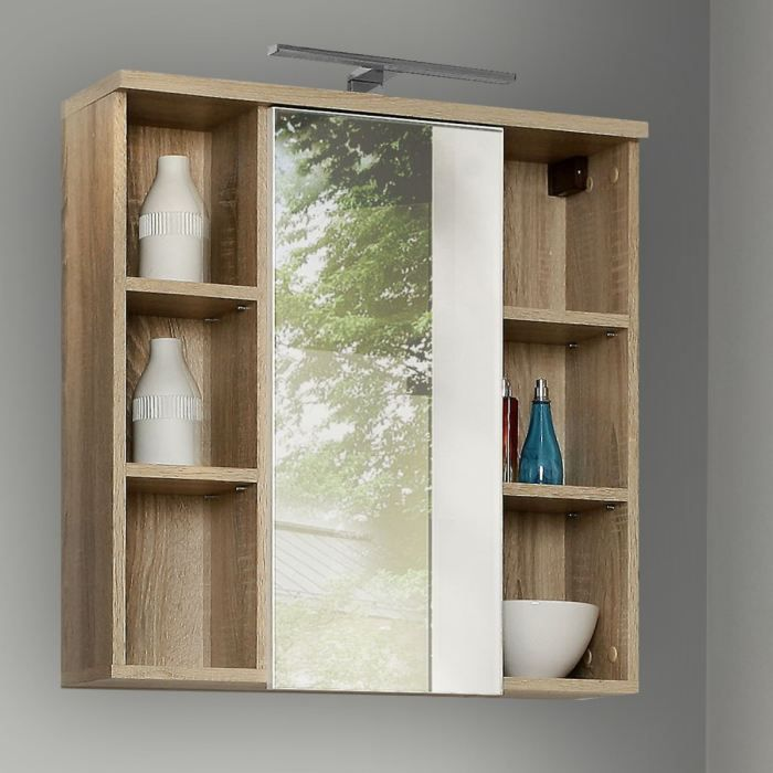 Veris pharmacie avec miroir ch ne et blanc achat vente - Miroir salle de bain avec rangement ...