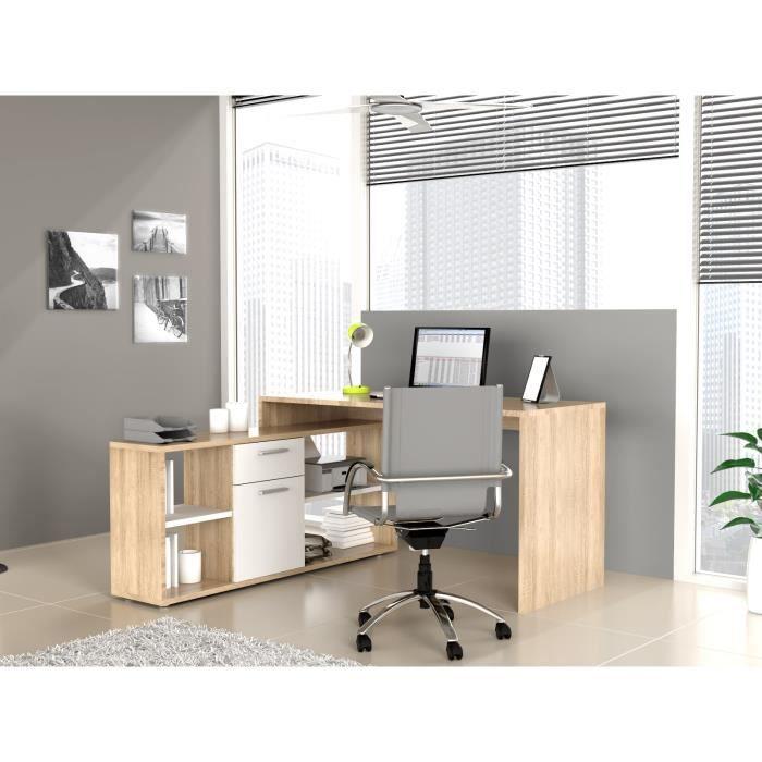 Finlandek bureau d 39 angle net 140 cm ch ne blanc achat vente bureau fi - Bureau ordinateur d angle ...