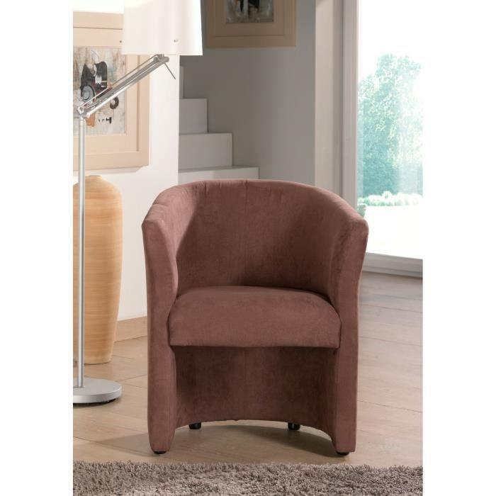 Baya fauteuil cabriolet en microfibre chocolat achat vente fauteuil rev t - Fauteuil cabriolet chocolat ...