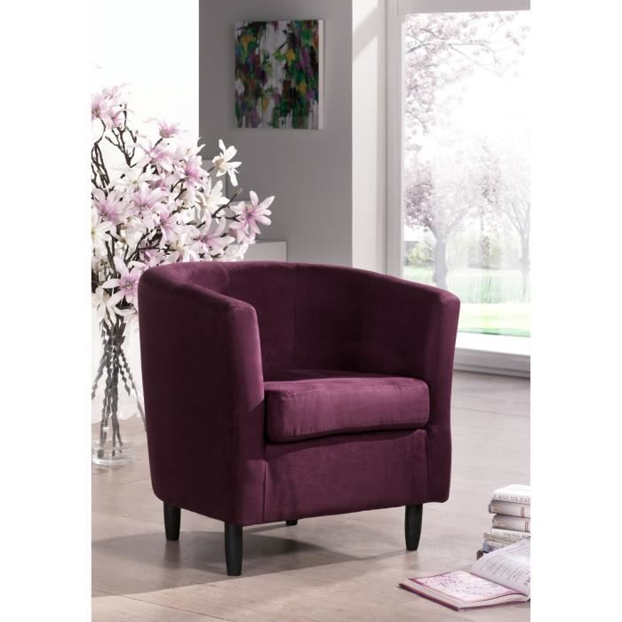 orleans fauteuil en tissu cabriolet aubergine achat vente fauteuil cdiscount. Black Bedroom Furniture Sets. Home Design Ideas
