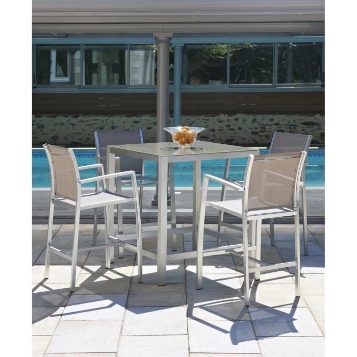 pacific table bar de jardin 4 fauteuils haut bar noir. Black Bedroom Furniture Sets. Home Design Ideas
