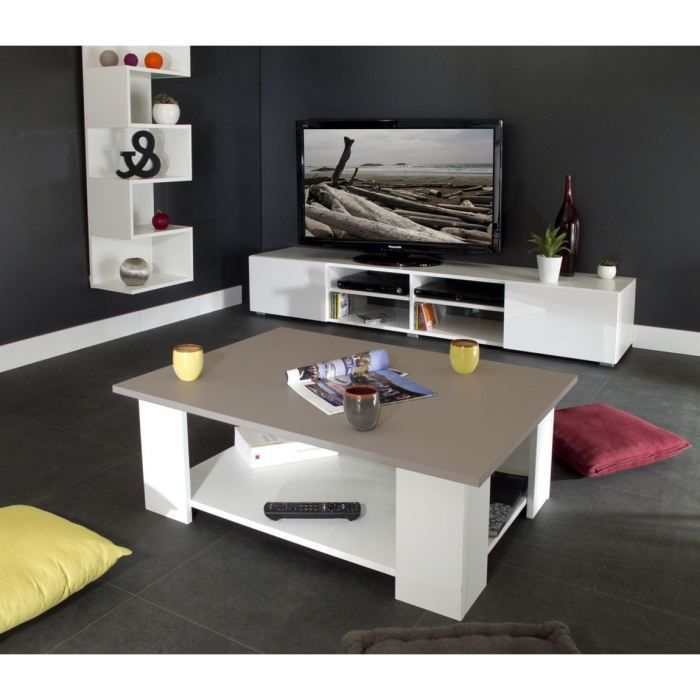 Mango table basse blanche plateau taupe 81x61x35cm achat - Table basse blanche et taupe ...