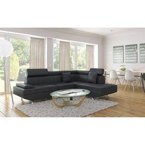 CANAPÉ - SOFA - DIVAN SCOOP Canapé d'angle droit en cuir et simili 4 pla