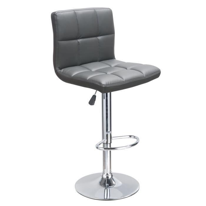 tabouret de bar gris achat vente tabouret structure bois pied metal r glable en hauteur. Black Bedroom Furniture Sets. Home Design Ideas