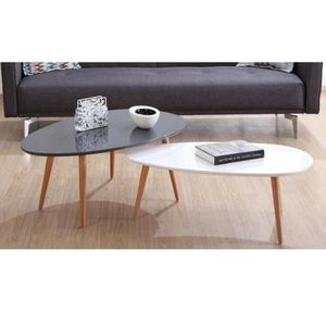 Table basse ovale achat vente table basse ovale pas for Table basse gris et blanc