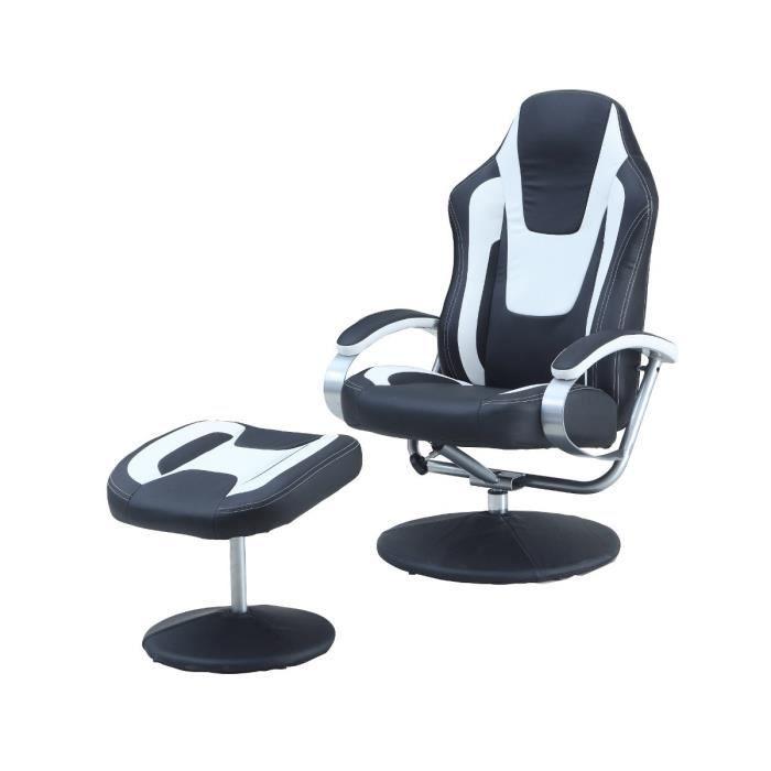 racing fauteuil relax repose pieds noir blanc achat vente fauteuil noir m tal cdiscount. Black Bedroom Furniture Sets. Home Design Ideas